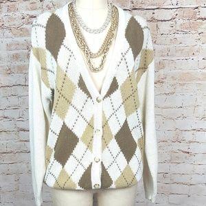CASUAL CORNER|Cream Oversized Cardigan Argyle Knit